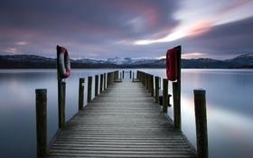 Картинка ночь, мост, озеро