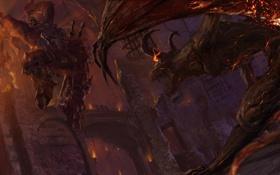 Обои варвар, секиры, diablo 3, крылатый, замок, прыжок, схватка