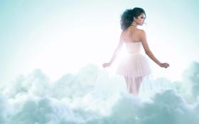 Картинка туман, фон, белое, платье, дымка