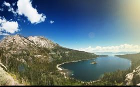 Обои лес, небо, вода, горы