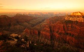 Картинка горы, рассвет, высота, каньон