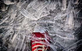 Картинка холод, лед, красный, кеды
