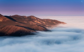 Обои природа, горный хребет, горы, высота, облака