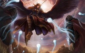 Обои девушка, оружие, магия, крылья, дух, войны, арт