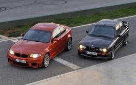 Обои Вечер, BMW, Оранжевый, Чёрный, Фары, 1 Series, Передок