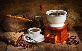Обои стол, кофе, шоколад, мешочки, турка, кофемолка