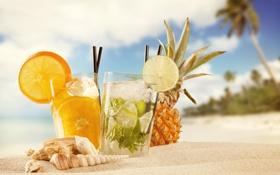 Обои песок, море, пляж, ракушки, ананас, коктейли