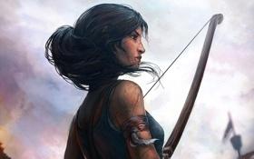 Обои лук, повязка, Lara Croft, Tomb raider, кровь, грязь, волосы