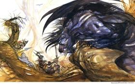 Обои противостояние, демон, фэнтези, ёшитака, амано