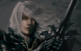 Обои меч, Мужчина, красные глаза, белые волосы
