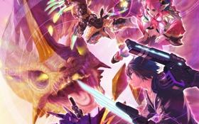 Картинка оружие, девушки, дракон, монстр, меч, арт, парни