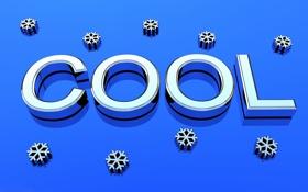 Обои зима, текст, объем, снежинка, cool