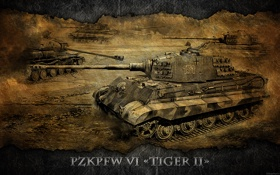Обои Германия, арт, танк, танки, WoT, тигр 2, World of Tanks