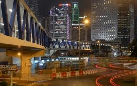 Обои дорога, ночь, мост, огни, улица, Гонконг, реклама
