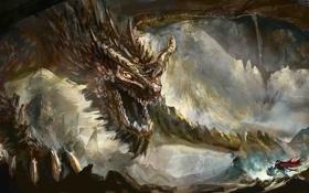Обои скалы, дракон, воин, арт, гигантский, Luc Fontenoy