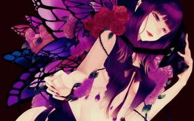 Картинка девушка, бабочки, розы, крылья, арт, setsuji