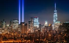 Картинка лучи, здания, Нью-Йорк, ночной город, Манхэттен, небоскрёбы, Manhattan