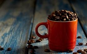 Картинка чашка, кофе, зёрна