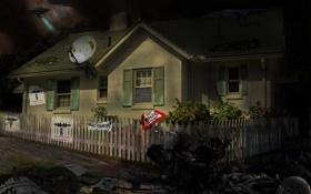 Картинка ночь, дом, фантастика, арт, летающие тарелки