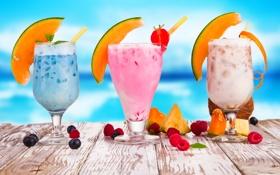 Обои лето, ягоды, малина, черника, бокалы, клубника, фрукты