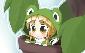 Обои цветок, лягушка, глазки, аниме, костюм, девочка, нота