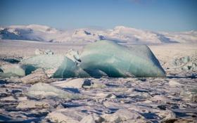 Обои лед, зима, снег, пейзаж, горы, льдины