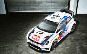 Обои Авто, Белый, Volkswagen, Гараж, Red Bull, WRC, Rally