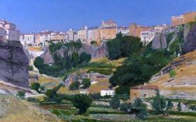 Картинка пейзаж, горы, город, скалы, дома, картина, долина
