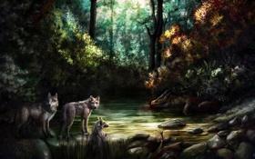 Обои лес, река, дракон, водопад, арт, труп, шакалы