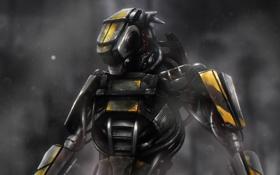 Обои темно, механизм, робот, art