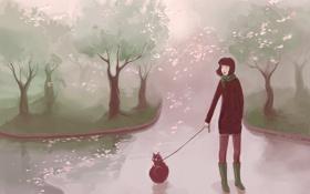 Обои осень, кошки, девушки, рисунок