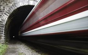 Картинка дорога, поезд, скорость, туннель, железная
