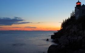 Обои море, деревья, камни, скалы, маяк, Закат