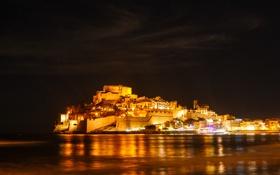 Картинка море, ночь, огни, дома, крепость, Испания, Валенсия