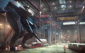 Обои фантастика, робот, ангар, рабочие, mech, black knight