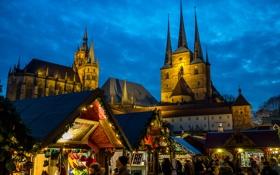 Обои небо, вечер, Германия, площадь, собор, ярмарка, Эрфурт