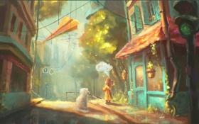 Картинка город, дом, улица, собака, арт, светофор, девочка