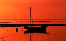Обои закат, лодка, небо, море