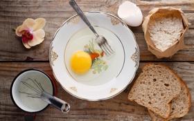 Обои яйцо, молоко, тарелка, хлеб, вилка, орхидея, мука
