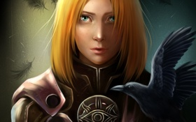 Обои девушка, перья, арт, ворон, dragon age inquisition, Leliana
