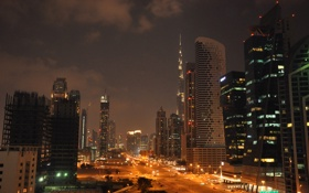 Обои ночь, город, фото, дороги, небоскребы, фонари, Dubai