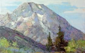 Обои облака, деревья, природа, арт, горы, склон