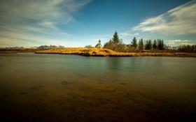 Картинка пейзаж, озеро, храм