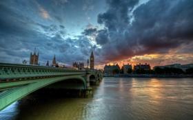 Картинка закат, мост, город, Westminister