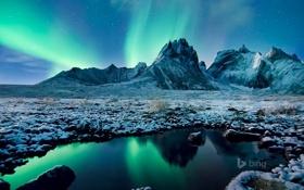 Картинка небо, звезды, горы, ночь, озеро, сияние, Канада