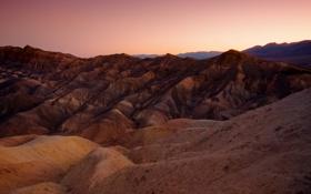 Картинка закат, горы, природа, пустыня