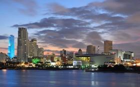 Обои city, дома, вечер, USA, Miami, Майями, высотки.