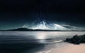 Обои камни, звезды, берег, волны