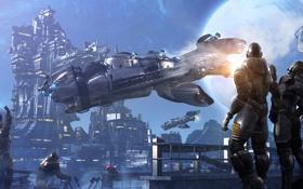 Обои космос, полет, люди, фантастика, луна, корабль, sci-fi