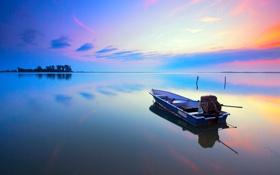 Картинка небо, облака, деревья, закат, озеро, лодка, остров
